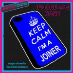 FITS IPHONE 4 / 4S PHONE KEEP CALM IM A JOINER PLASTIC COVER BLUE